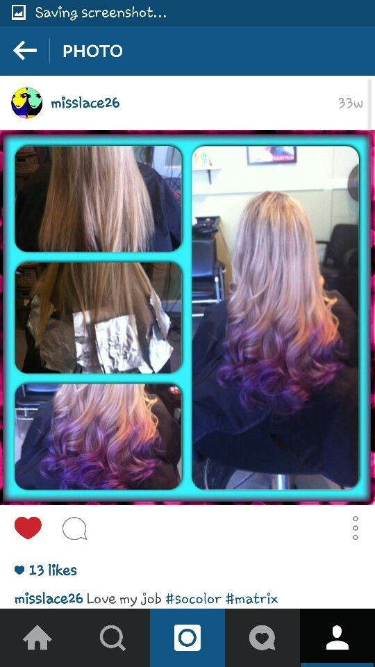 Purple ombre on blonde highlighted hair