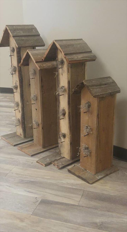 Wooden Pallet Garden Birdhouses | 101 Pallet Ideas