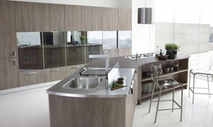 Contemporary curved island kitchen islands peninsulas for Curved island kitchen designs