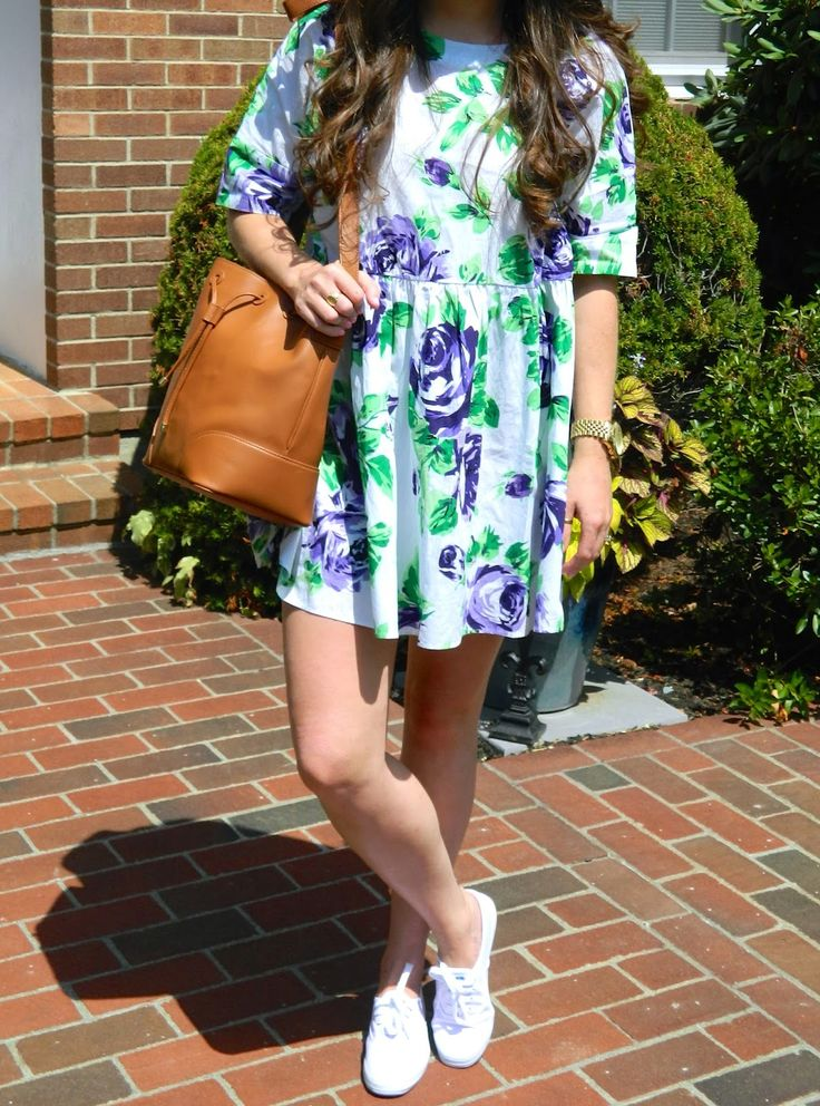 floral fever  floral dress paired with white keds