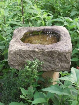 stone birdbath for the cabin garden...