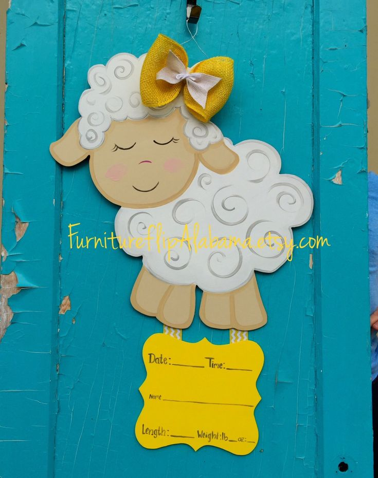 Lamb baby hospital door hanger, Its a Girl,hospital wreath, personalized baby announcement,it's a boy,baby carriage door hanger by Furnitureflipalabama on Etsy