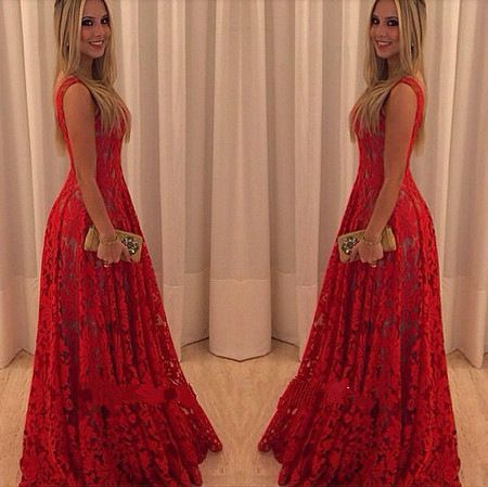2015 new western explosive sexy full lace red casual dress and put on long sleeveless bride long dresses vestidos SL086