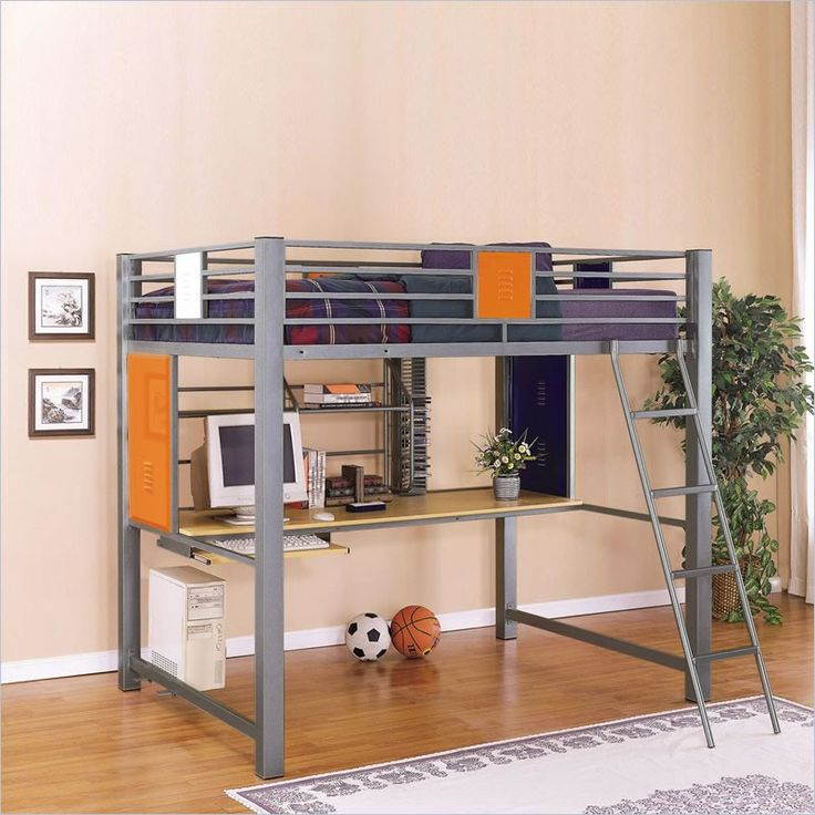 loft bed with desk Powell Teen Trends Full Size Metal
