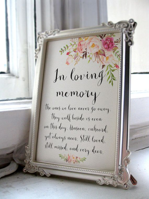instant download pink floral wedding sign in loving memory printable wedding memorial sign diy 4x6 5x7 8x10 a4 pf 18