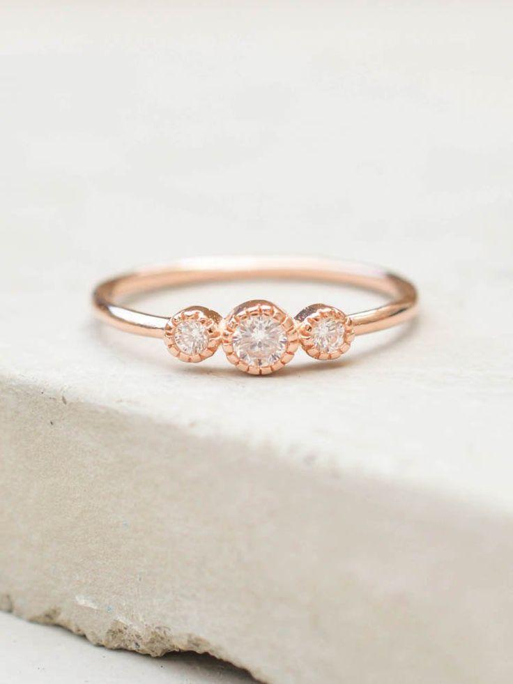 3-Stone Milgrain Ring - Rose Gold