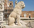 The Piraeus Lion in Venice - taken in 1687 from the port in Athens.The statue was defaced in the late 11th century by Scandinavians who carved two lengthy runic inscriptions into the shoulders and flanks of the lion.The runes are carved in the shape of an elaborate lindworm dragon-headed scroll.The carvers of the runes ,probably Varangians,were Scandinavian mercenaries in the service of the Byzantine Emperor.