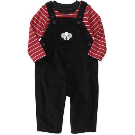 Child of Mine Carters Newborn Boys' 2-Piece Tee and Cord Overall Set, Black