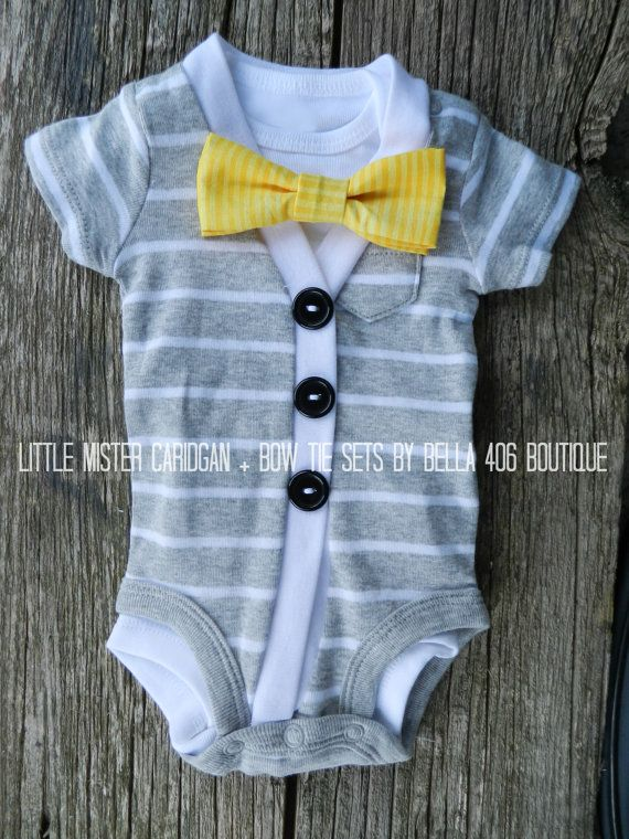 Little Boy's Cardigan Set  Short Sleeve Grey / White with yellow bowtie. Love these colors together! :)