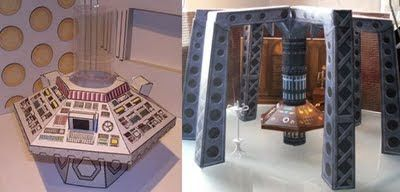 Doctor Who Papercaft: TARDIS Interiors   Tektonten Papercraft  These two paper models of TARDIS interiors are the creation of Philip Lawrence. Philip runs Action Figure Theatre, a website devoted to creating online Doctor Who comic books constructed from photographs of action figure toys. On the left is the 80's version of the tardis used by the 5th, 6th and 7th doctors. On the right is the tardis as it appears in the 1996 Doctor Who movie which features the 8th doctor