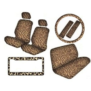 12-Piece Safari Animal Print Automotive Interior Gift Set - 2 Leopard Tan Low Back Front Bucket Seat Covers with Separate Headrest Cover, 1 Leopard Tan Steering Wheel Cover, 2 Leopard Tan Shoulder Harness Pressure Relief Cover, 1 Leopard Tan Bench Cover and 1 Leopard Tan Plastic License Plate Frame