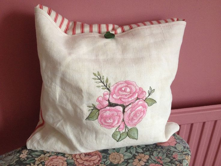 Free machine embroidery, hand painted roses on vintage French linen