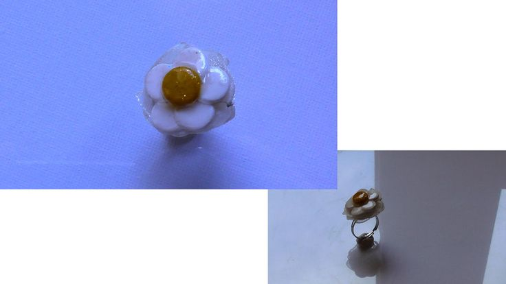 This video presents how to make the daisy ring with a base ring, polymer clay, organza ribbon, thread and resin Αυτό το βίντεο παρουσιάζει πως φτιάχνω το δαχτυλίδι μαργαρίτα με βάση δαχτυλιδιού, πολυμερικό (πολυμερή) πηλό, κορδέλα οργαντίνας, κλωστή και υγρό γυαλί