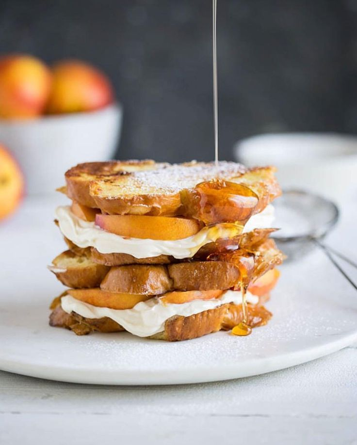 "436 Likes, 19 Comments - Sam Linsell (@drizzleanddip) on Instagram: ""French toast sandwich with lemony cream cheese, nectarines and honey. It's delicious. The recipe is…"""