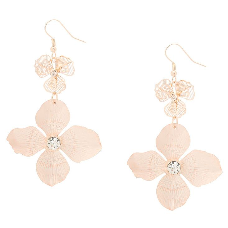 Claire S Rose Gold Blush Flower Drop Earrings Fashion Accessories Jewelry Drop Earrings Girls Accessories