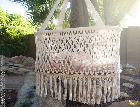 Hanging Crib in Macrame Oval Shape Cream color by HangAHammock