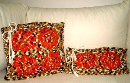 Knitting Pillows/Flowers/Multicolor/Orange Green by earflaphats, $70.00