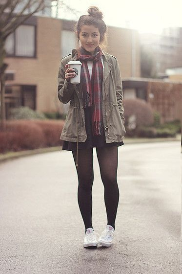 Urban Stiletto Parka, Asos Skater Skirt, Converse, River Island Tartan Scarf, Primark White Blouse