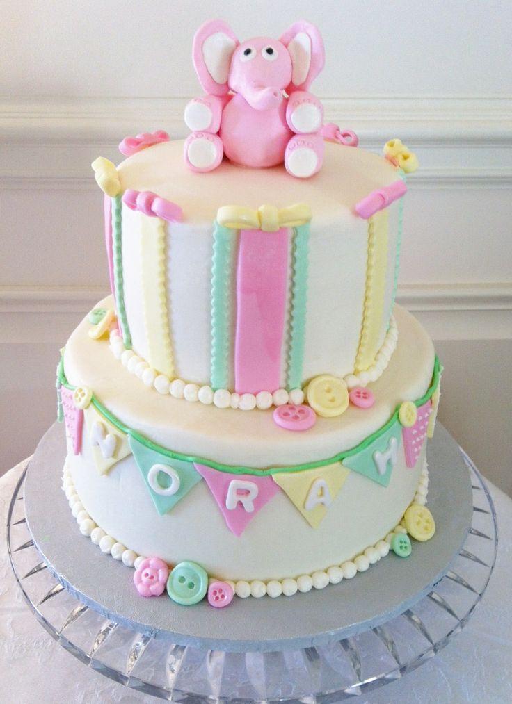 Elephant Themed Baby Shower Cakes ~ Girl elephant themed baby shower buttercream iced cakes