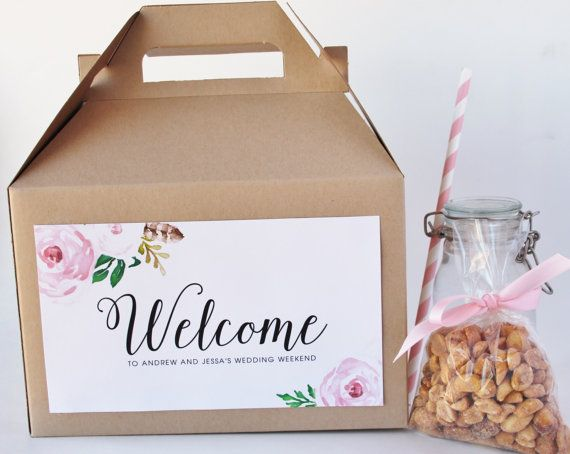 Set 50 Hotel Welcome Kraft Gable Boxes Pink Rose by HHpaperCO