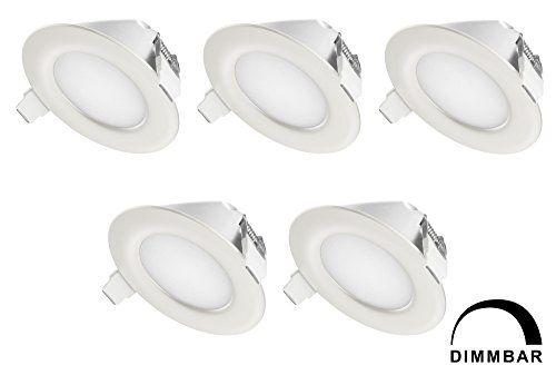 TEVEA� Ultra Flach LED Einbaustrahler IP44 dimmbar f�r den Wohnbereich |auch f�r das Bad geeignet| Warmwei� 6W 230V Rahmen weiss Rund Einbauspots Badleuchten, 5 St�ck Einbauleuchten (Warmweiss)