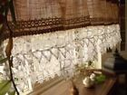 "54"" Shabby Vintage Chic lace -Rustic BURLAP Kitchen Valance Curtain White Ruffle"