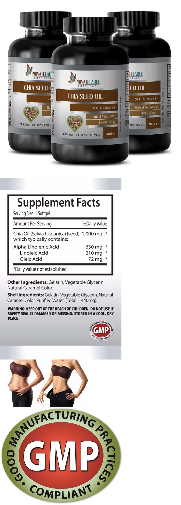 Appetite Control Suppressants: Weight Loss Supplements - Pure Chia Seed Oil 1000Mg - 3 Bottles 180 Softgels BUY IT NOW ONLY: $39.95 ()