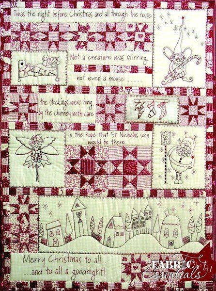 Twas the Night Before Christmas BOM - This stunning seven-part pattern quilt includes redwork stitchery, machine piecing, foundation piecing, and machine quilting.
