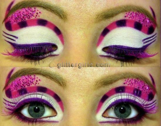 Schminktipps Fasching katze faux lila wimpern