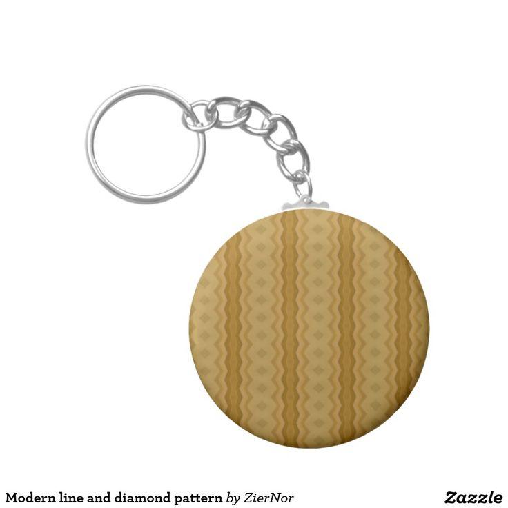 Modern line and diamond pattern basic round button keychain