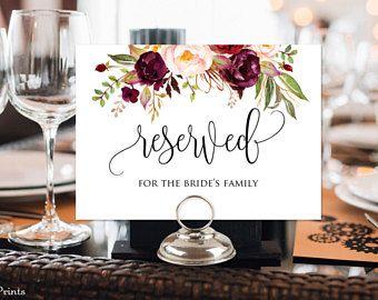 Reserved Sign Wedding Table Card Printable Burgundy