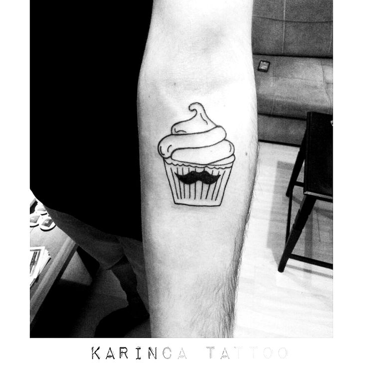 Line Cupcake with mustache Tattoo