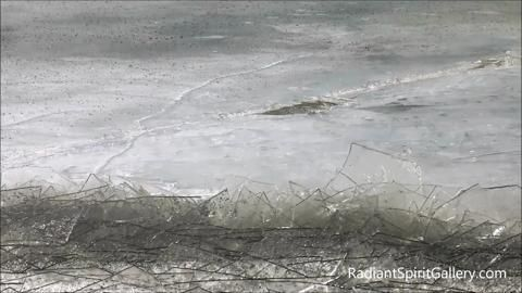 Gyrating ice plates form jagged beachscape in the north country.