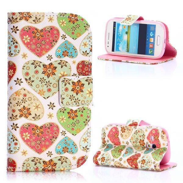 Heart & flower bookcase voor Samsung Galaxy S3 mini