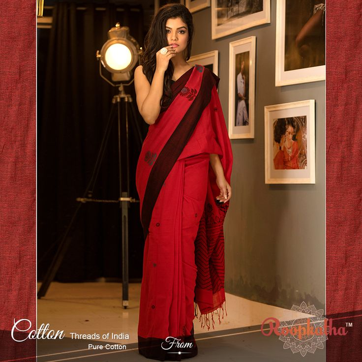 RED COTTON HANDLOOM SAREE WITH FLORAL DESIGNS CT061500369 PRICE: Rs. 3, 300/-
