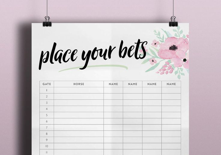 Place Your Bets Sweepstake Poster - Melbourne Cup - Kentucky Derby Day Party - Grand National - Spring Racing - Horse Race Decoration Floral by TreharneCreative on Etsy https://www.etsy.com/listing/481344091/place-your-bets-sweepstake-poster