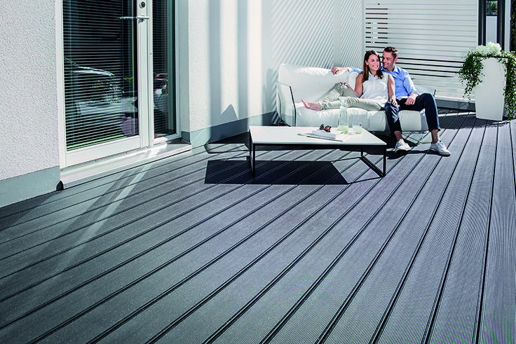 UPM ProFi Deck 150 Night Sky Black at Seinäjoki Housing Fair, Finland.