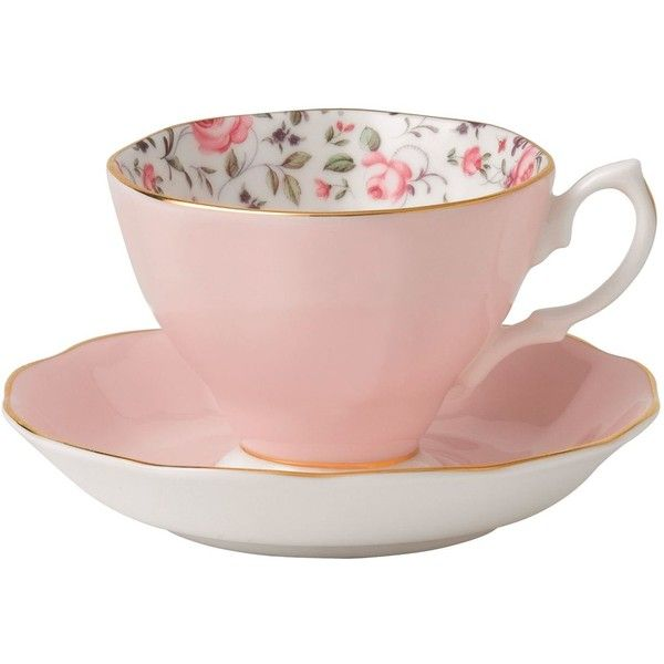 Royal Albert Rose Confetti Vintage Teacup and Saucer (€25) ❤ liked on Polyvore featuring home, kitchen & dining, drinkware, rose bone china, royal albert, vintage bone china, pink tea cup and vintage bone china tea cups