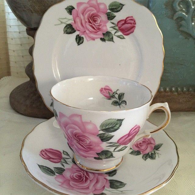 Royal Vale pink rose trios - 3 sets avail - P1950 per set #shabbychicphl #royalvale #bonechina #madeinengland #shabbychicphilippines  http://www.shabbychicphl.com/product/royal-vale-pink-rose-trios/
