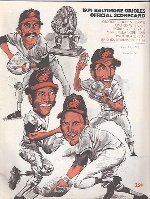 1974 Baltimore Orioles Official Scorecard vs Minn Twins