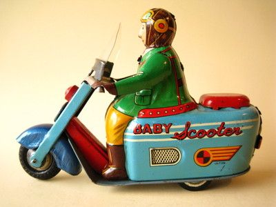 Tin Scooter Motorcycle Baby Scooter Friction Tin Toy Rider Japan 1950