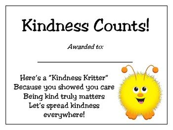 Your students will beam with pride as they receive this honor for being kind to others!