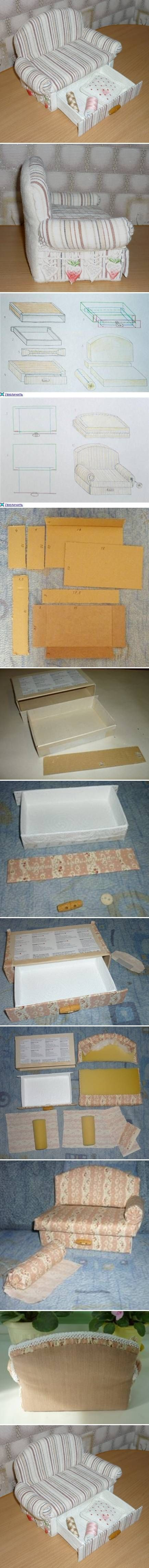 DIY Cardboard Sofa with Drawer. I LOVE the drawer! This could also be made into a daybed with trundle.