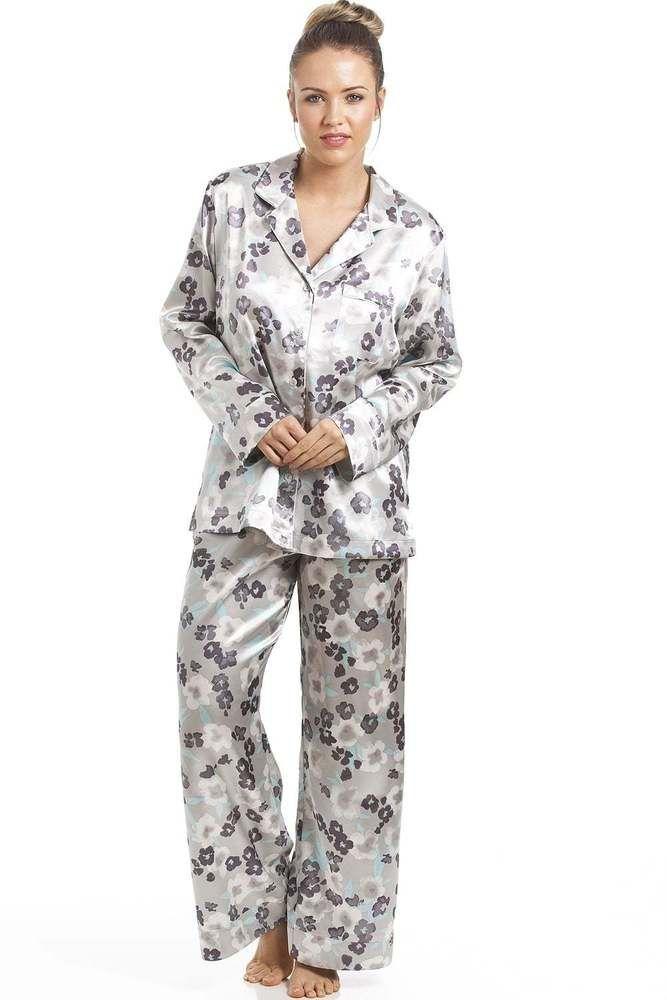 Camille Womens Ladies Grey With Purple & Aqua Floral Print Satin Pyjama Set