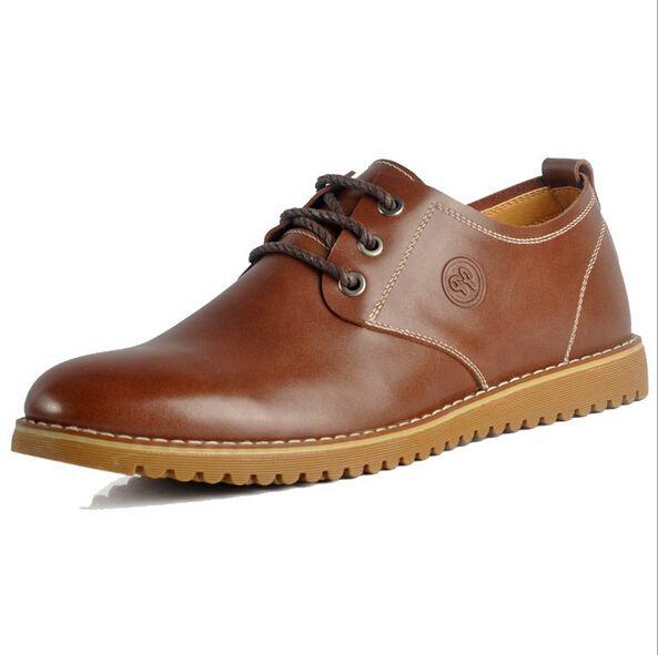 2015 мужчин бездельников кожаные ботинки свободного покроя кожи на шнуровке черно-коричневый плоские кожаные ботинки из натуральной кожи оксфорды