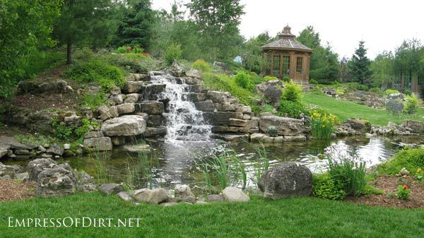 Beautiful backyard pond ideas for all budgets | Large inground garden pond with waterfall