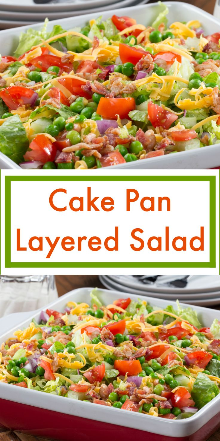 Our Cake Pan Layered Salad is just like those layered salads you see in the fancy-looking glass bowls, but is even easier to make and take!