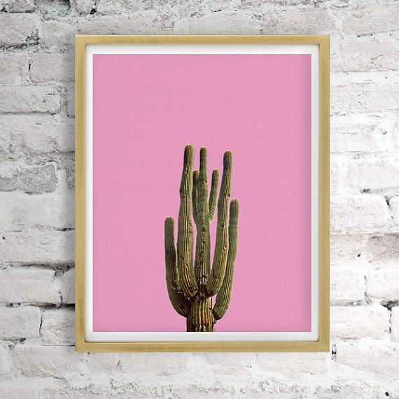 Printable Women Gift Pink Cactus Print Cactus Decor by LittleWants