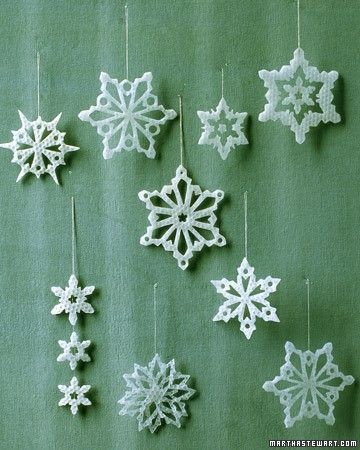 Just like the real thing, no two of our wax snowflakes are exactly alike. To create them, we used a special cookie cutter set that contains separate pieces for making cutouts.
