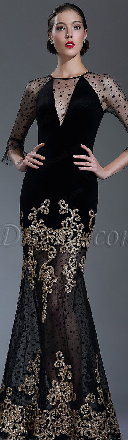 Black Sequin Lace Formal Evening Gown with Sleeves #eDressit